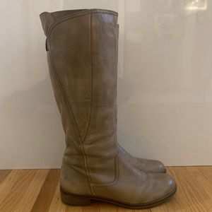 Soft Taupe leather knee high boots